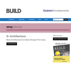 S+ Architecture'a 'Best Architecture & Urban Design Firm 2015' Ödülü