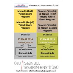 ÖzÜ Mimarlık ve Tasarım Fakültesi Lisansüstü Programları Tanıtım Toplantısı