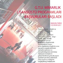 GTÜ Mimarlık Lisansüstü Programları Başvuruya Açıldı