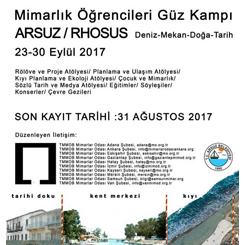 """Arsuz """"Deniz, Mekân, Doğa, Tarih"""" Mimarlık Öğrencileri Güz Kampı"""