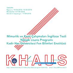 KHAUS Mimarlık ve Kent Çalışmaları İngilizce Tezli Yüksek Lisans Programı