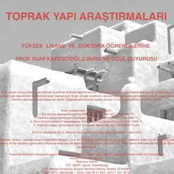 Toprak Yapı Araştırmaları YL ve Doktora Öğrencilerine Prof.Ruhi Kafescioğlu Burs ve Ödülü