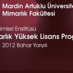 Mardin Artuklu Üniversitesi Mimarlık Yüksek Lisans Programı Açılıyor