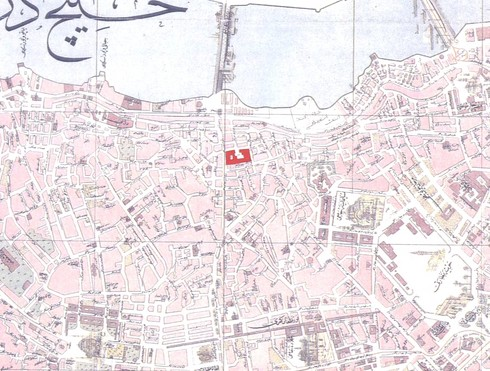19 yy şehir haritası üzerinde işaretlenmiş olarak unkapanı