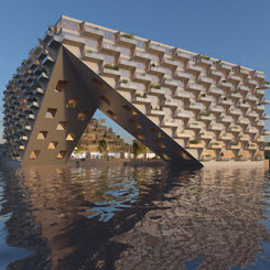 BIG ve Barcode Architects'ten Göl Üzerinde Yüzen Konut Projesi